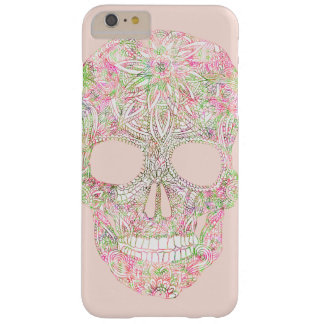 Girly Pink Floral Paisley Sugar Skull Sketch Barely There iPhone 6 Plus Case