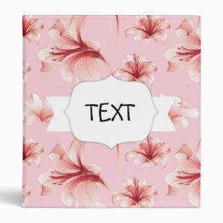 Girly Pink Floral Pattern Binder