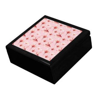 Girly Pink Floral Pattern Trinket Box