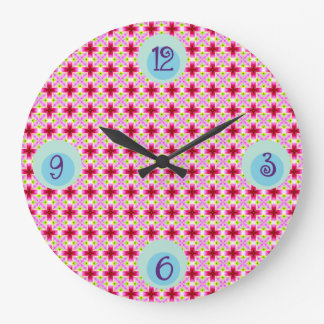 Girly Pink Floral Pattern Large Clock