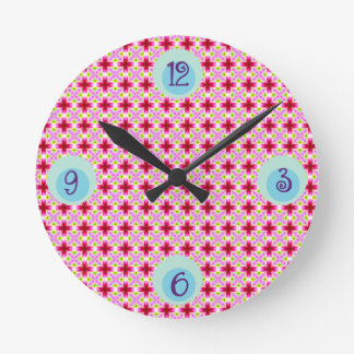 Girly Pink Floral Pattern Round Clock