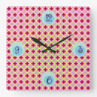 Girly Pink Floral Pattern Square Wall Clock