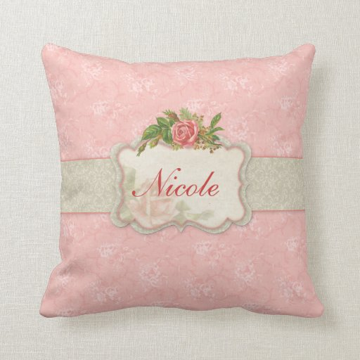 Girly Pink Floral Personalized Pillow