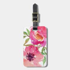 Girly Pink Floral Watercolor Custom Bag Tag at Zazzle