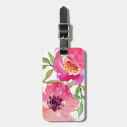 Girly Pink Floral Watercolor Custom Bag Tag