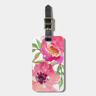 Girly Pink Floral Watercolor Custom Bag Tag
