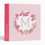 Girly Pink Floral Wreath Personalized Monogram 3 Ring Binder