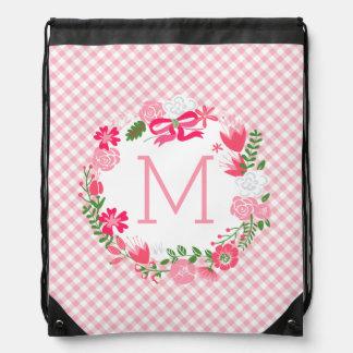 Girly Pink Floral Wreath Personalized Monogram Drawstring Bag