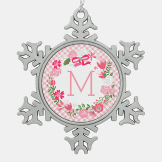 Girly Pink Floral Wreath Personalized Monogram Ornaments