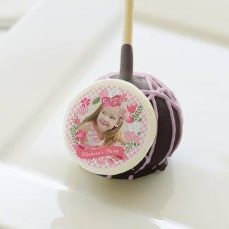 Girly Pink Floral Wreath Photo Custom Cake Pops