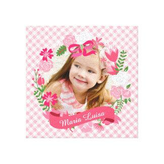 Girly Pink Floral Wreath Photo Custom Canvas Print