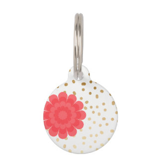 girly pink flower gold foil polka dots pattern pet name tag