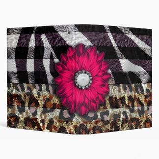 Girly Pink Flower on Cheetah Zebra Print 3 Ring Binder