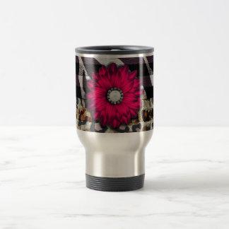 Girly Pink Flower on Cheetah Zebra Print 15 Oz Stainless Steel Travel Mug