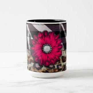 Girly Pink Flower on Cheetah Zebra Print Two-Tone Coffee Mug