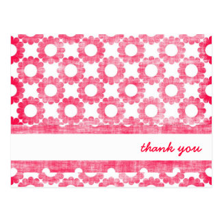 Girly Pink Flowers Thank You Cards