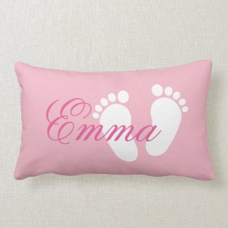 Girly pink footprint lumbar pillow for baby girl