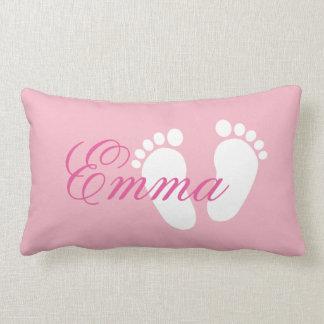 Girly pink footprint lumbar pillow for baby girl