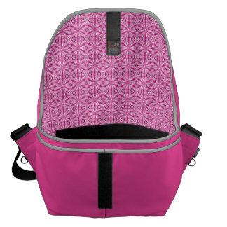 Girly Pink Fractal Pattern Messenger Bag
