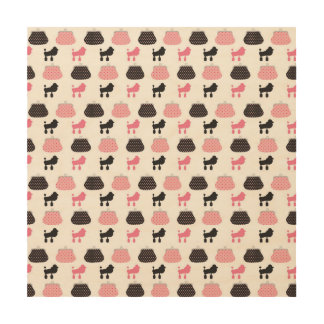 Girly Pink French Poodle Wood Canvas