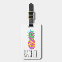 Girly Pink Geometric Triangles Pineapple Monogram Luggage Tag