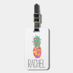 Girly Pink Geometric Triangles Pineapple Monogram Luggage Tag at Zazzle
