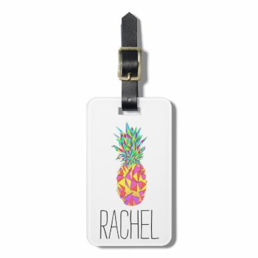 BlackStrawberry_Co Girly Pink Geometric Triangles Pineapple Monogram Luggage Tag