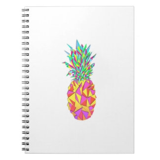 Girly Pink Geometric Triangles Pineapple Spiral Notebook