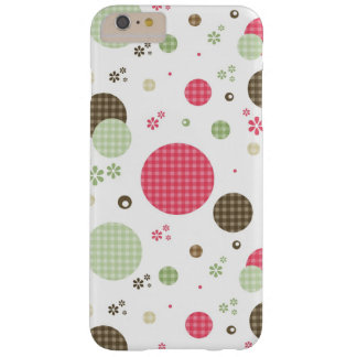 Girly Pink Gingham Circles Pretty Mod Flowers Barely There iPhone 6 Plus Case