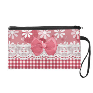Girly Pink Gingham Cute Bow and Daisy Flowers Wristlets