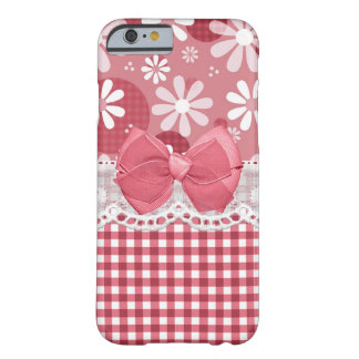 Girly Pink Gingham Cute Bow and Daisy Flowers Barely There iPhone 6 Case