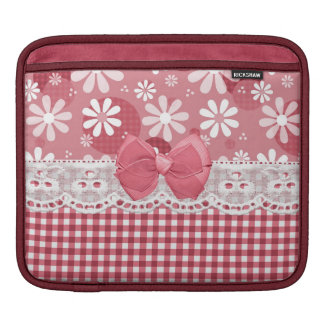 Girly Pink Gingham Cute Bow and Daisy Flowers Sleeve For iPads