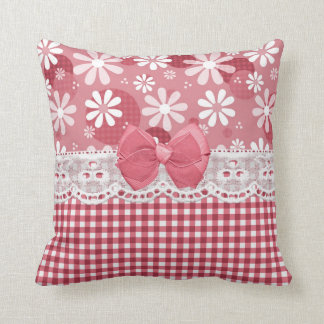 Girly Pink Gingham Cute Bow and Daisy Flowers Pillows