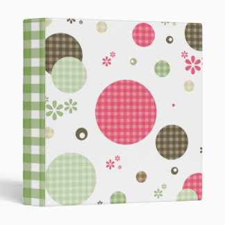 Girly Pink Gingham Pattern Circles Cute Daisies 3 Ring Binder