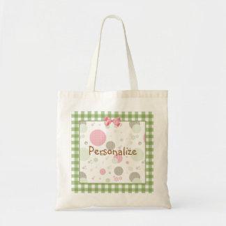 Girly Pink Gingham Pattern Circles Cute Daisies Tote Bag