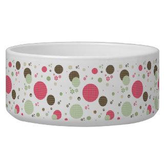 Girly Pink Gingham Pattern Circles Cute Daisies Bowl