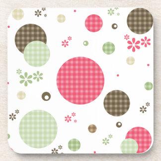 Girly Pink Gingham Pattern Circles Cute Daisies Beverage Coaster