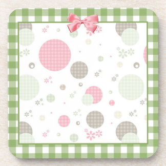 Girly Pink Gingham Pattern Circles Cute Daisies Drink Coaster