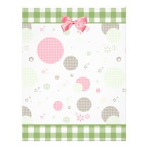 Girly Pink Gingham Pattern Circles Cute Daisies Flyer