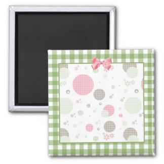 Girly Pink Gingham Pattern Circles Cute Daisies Fridge Magnets