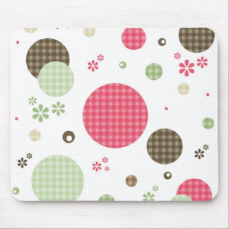 Girly Pink Gingham Pattern Circles Cute Daisies Mouse Pad