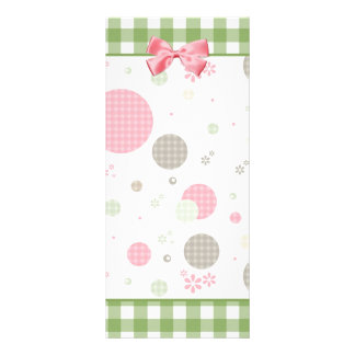 Girly Pink Gingham Pattern Circles Cute Daisies Rack Card