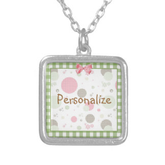 Girly Pink Gingham Pattern Circles Cute Daisies Silver Plated Necklace