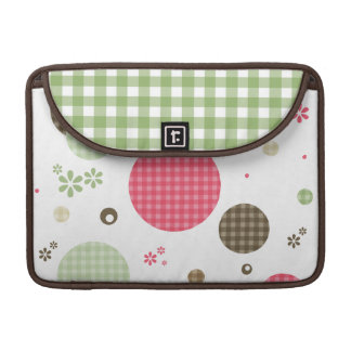Girly Pink Gingham Pattern Circles Cute Daisies Sleeve For MacBook Pro