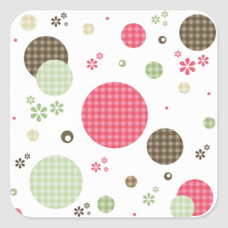 Girly Pink Gingham Pattern Circles Cute Daisies Square Sticker