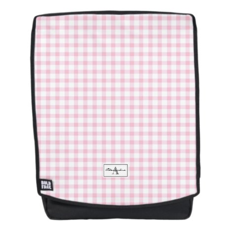 Girly Pink Gingham Plaid Checked Pattern Monogram Backpack