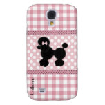 Girly Pink Gingham & Poodle Custom Samsung Galaxy S4 Case