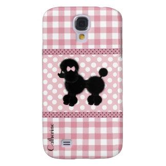 Girly Pink Gingham & Poodle Custom Samsung S4 Case