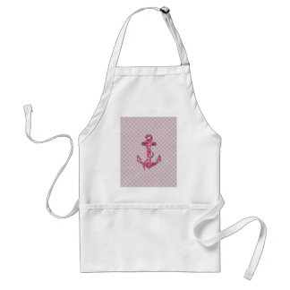 GIRLY PINK GLITTER ANCHOR DOTS PATTERN ADULT APRON