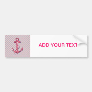 GIRLY PINK GLITTER ANCHOR DOTS PATTERN BUMPER STICKER